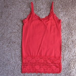 """""""Dots"""" Stretchy Red Tank Top With Sheer Lace"""